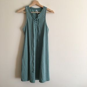 Z Supply Lace Up Tank Dress Sleeveless Teal